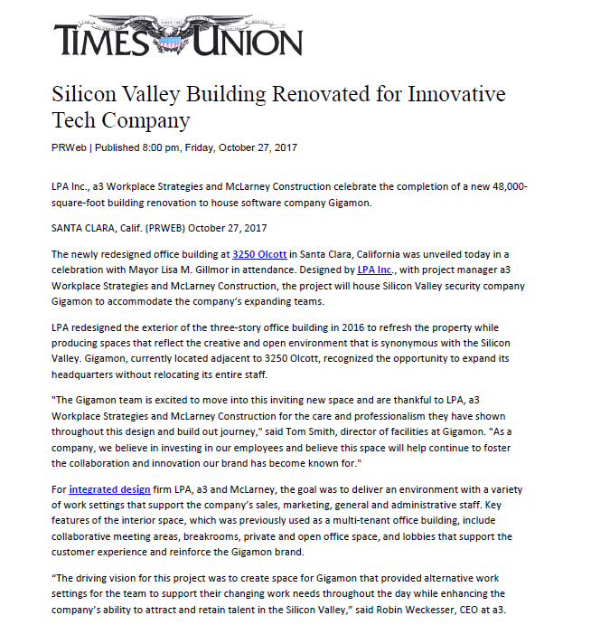 Times Union - a3 Workplace Strategies